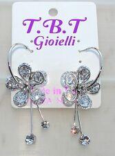 silver Orecchini con Fiori cristallo Cerchi da Donna Eleganti pendenti traspare