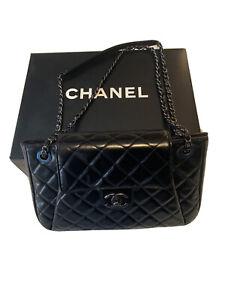 Chanel Classic Flap Accordion Black Calfskin Leather Shoulder Bag