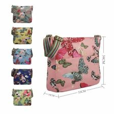 Canvas Cross Body Bag in Butterfly Pattern. Large Everyday School Cotton Handbag