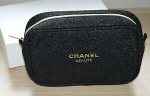 Holiday 2020 black makeup bag with sparkle NEW compliment from Chanel Beaute