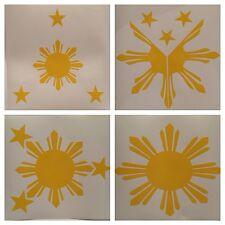 4pc Yellow Pinoy Pride Sun Star Philippines Vinyl Decal Stickers Overlay Graphic