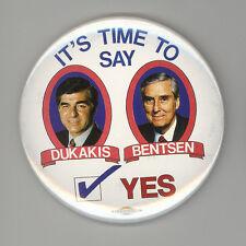 1988 MICHAEL DUKAKIS Lloyd Bentsen JUGATE Pin BUTTON Pinback BADGE Mike