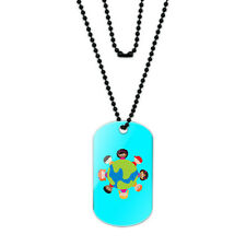 Kids Around the World Blue Acrylic Dog Tag with Black Ball Chain