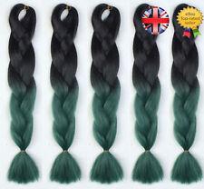 "5 Packs 24"" Black & Green Ombre Dip Dye Kanekalon Jumbo Braiding Hair Extensions"
