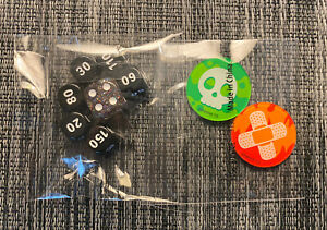 Pokemon Trainer's Toolkit Dice and Damage dice 7 set - Black w/Glitter 2 Markers