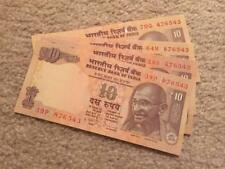 India 10 Rs Descending Order Fancy Number '876543' UNC Condition