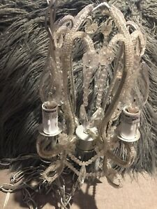 Crystal Mini Chandelier Plug In Swag 4 Light Lighting Fixture Pendant Lamp