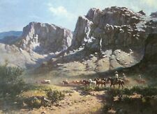 OLAF WIEGHORST Southwest Cowboy Book Print WAGON AND REMUDA From Oil Painting
