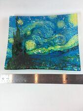 "Van Gogh Starry Night Print / Painting On Glass Tray 8"" X 10"""