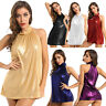 Women's Casual Shiny Halter Neck Sleeveless Tops Blouse Tank Top Vest Clubwear