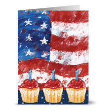 24 Note Cards - Flag and Cupcakes - Red Envs
