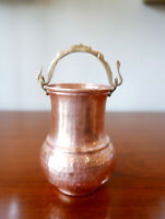 "Vintage Hand Forged Hammered Solid Copper Brass Flower Pot Vase 5.5"" x 4"" W"