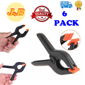 6 Pack 3'' QUALITY Heavy Duty SPRING CLAMPS Nylon Plastic Quick Grips Clips UK