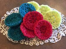 FREE ship pot scrubber dish scrub nylon 9 handmade crochet RED TURQUOISE YELLOW
