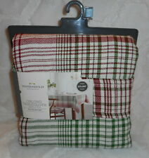"""THRESHOLD RED GREEN CREAM CHRISTMAS PLAID OBLONG TABLECLOTH 60"""" X 84"""" NEW"""