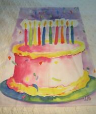 """Toland Birthday Cake Tie Dye Watercolors Flag Banner 23"""" x 35"""" New Old Stock"""