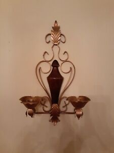 VINTAGE ANTIQUE WOOD METAL WALL MOUNTED WALL SCONCE CANDLE HOLDER - MID CENTURY