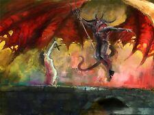 PAINTING DEVIL DEMON WOMAN WINGS TRIDENT HORNS BRIDGE COOL POSTER PRINT BMP10327
