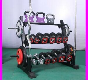 Gym Weights Plates Storage Rack Holder Barbell Dumbbell Kettlebell 3 Tier