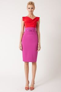 Black Halo Jackie O Sheath Dress Womens Size 6 Classic Red Pink Belt $375