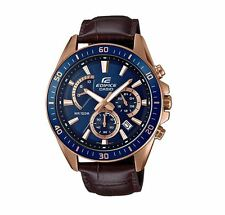 Casio EFR552GL-2A Edifice Men's Watch Navy/Rose Gold/Leather WR 10 ATM RRP$199