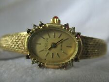 Vintage Geneva Watch Gold Toned Oval Shaped Face Red Sparkling Elegant WORKING!