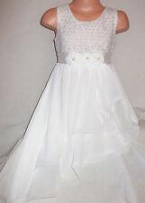 GIRLS CREAMY WHITE ROSETTE TRIM LACE CHIFFON ASSYMETRIC HEM PARTY DRESS age 8-9