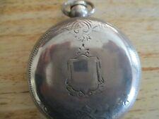 "Silver Case #258480,Heavy 2 1/4"" Antique Illinois Pocket Watch Heavy Coin"