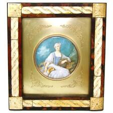 Antique French Miniature Painting: Woman, Dog or Spaniel & Bagpipe, Carved Frame