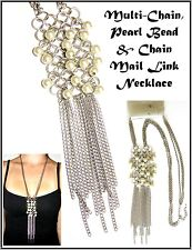 ~MULTI-CHAIN PEARL & CHAINMAIL LINK NECKLACE~Cluster Feature~Silver