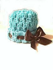 Crochet Baby Girl Hat Blue/Black Bow