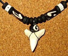 REAL MAKO SHARK TOOTH pendant necklace wood fish bone beads surf men women beach