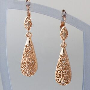 9k ct Rose Gold Plated Drop Filigree Earrings Antique Style Vintage Nice Gift