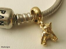 GENUINE SOLID 9K  9ct YELLOW GOLD CHARM BEAD with 3D TEDDY BEAR DROP GIFT