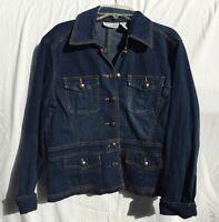 Chico's Platinum Womens Size 0  (size 4 small) Button Up Blue Jean Denim Jacket