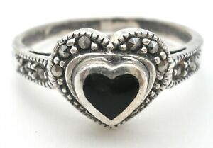 Sterling Silver Black Onyx Heart Ring With Marcasites Vintage Size 9 925 Jewelry