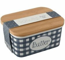 KATIE ALICE VINGAGE INDIGO Ceramic BUTTER Storage DISH with Wooden Lid BLUE