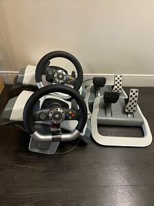 XBOX 360 STEERING WHEELS AND PEDALS (x2)