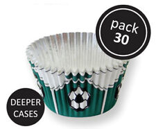 PME 30pk Green Football Foil Standard Cupcake Cup Cake Muffin Party Baking Cases