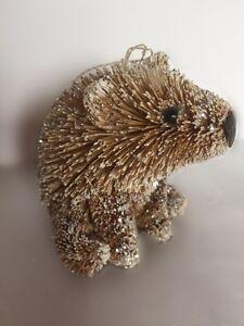 Gisela Graham Christmas Woodland Bristle Glitter Bear Hanging Or Stand Ornament