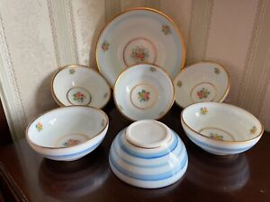 Vintage Milk Glass Translucent White/Blue Stripe Hand Painted Floral Fruit Bowls