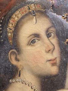 Antico Dipinto Su Tela Del 1700di Qualita'  Da Restaurare
