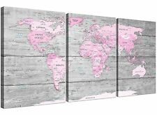 Large Pink Grey Map of World Atlas Canvas Wall Art Print � Split 3 Set - 3302