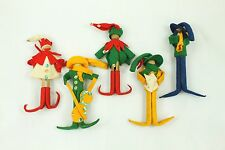 Vintage Felt Clothes Pin Elf Christmas Ornament Holiday Decoration Lot