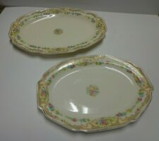 2 Vtg Platters Floral Mauve Blue Yellow Flowers Scalloped Serving Trays