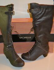 Sachelle Concept Womens Sz 7 Brown Leather Fashion Knee-High Boots BUCKLE $249