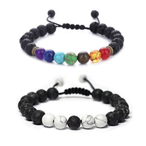 7 Chakra Healing Beaded Bracelet Natural Lava Stone Diffuser Adjustable Jewelry