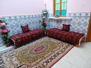 Moroccan 2 Red Sofa Couch & 2 Pillow Cover Rugs yarn Wool Berber Carpet rug