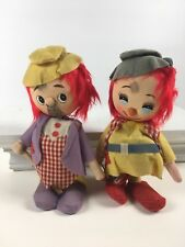 2 Vintage Mid Century Circus Clowns Plush Poseable Made in Japan