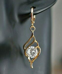 Diamant-Imitat brillianter Hänger Ohrringe Gold 18K vergoldet 40mm Top Chic👸